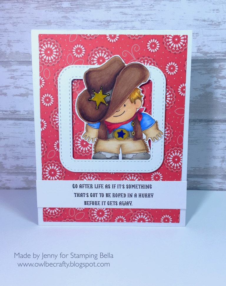 Stamping Bella Spring 2017 release - COWBOY SQUIDGY RUBBER STAMP. Card by JENNY Bordeaux