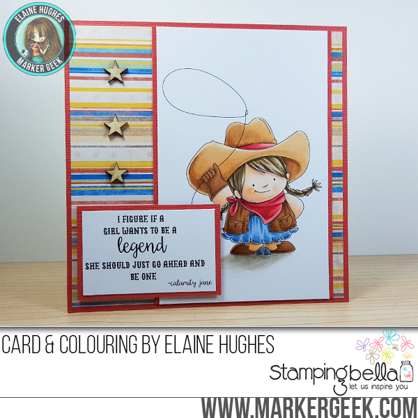 Stamping Bella Spring 2017 release - COWGIRL SQUIDGY RUBBER STAMP. Card by Elaine Hughes