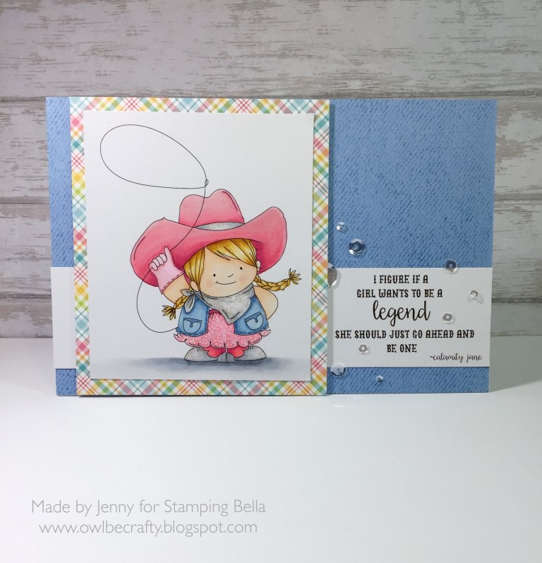 Stamping Bella Spring 2017 release - COWGIRL SQUIDGY RUBBER STAMP . Card by Jenny Bordeaux
