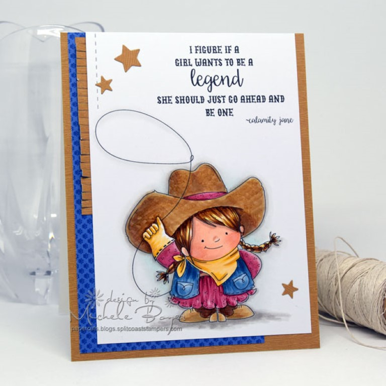 Stamping Bella Spring 2017 release - COWGIRL SQUIDGY RUBBER STAMP . Card by MICHELE BOYER