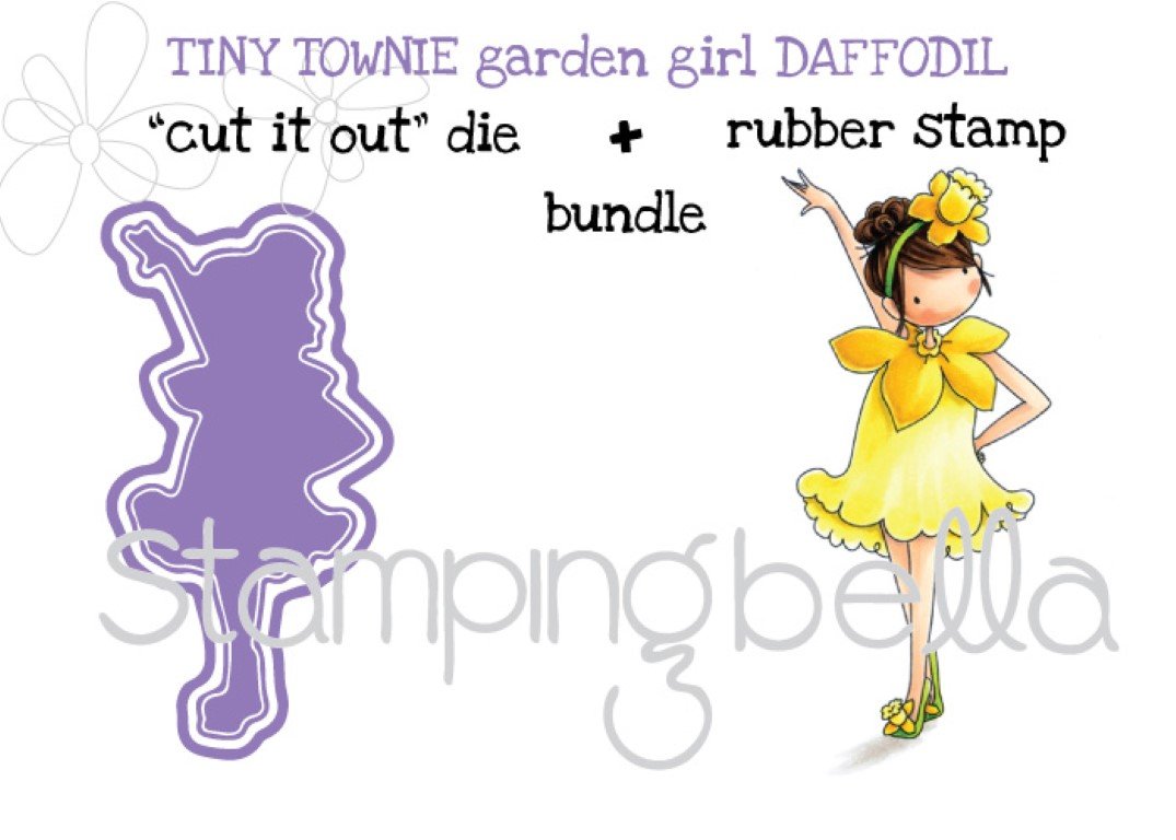"Stamping Bella Sneak Peek March 2017- TINY TOWNIE GARDEN GIRL DAFFODIL RUBBER STAMP and ""CUT IT OUT"" DIE BUNDLE"