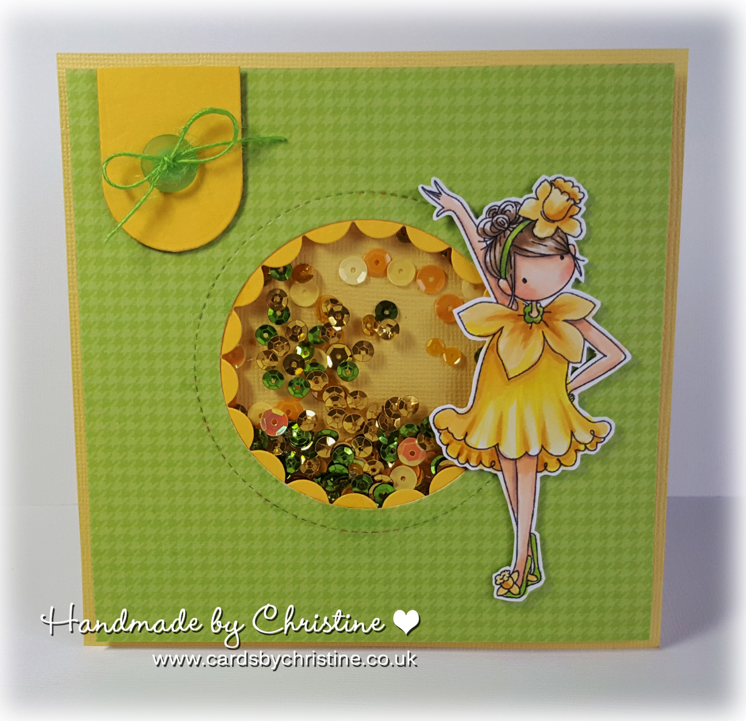 Stamping Bella Sneak Peek March 2017- TINY TOWNIE GARDEN GIRL DAFFODIL RUBBER STAMP. CARD BY CHRISTINE LEVISON