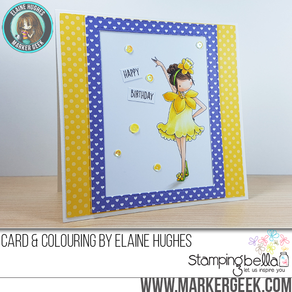 Stamping Bella Sneak Peek March 2017- TINY TOWNIE GARDEN GIRL DAFFODIL RUBBER STAMP. CARD by ELAINE HUGHES