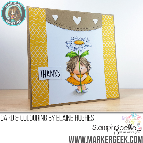 Stamping Bella Sneak Peek March 2017- DAISY SQUIDGY RUBBER STAMP. CARD BY ELAINE HUGHES