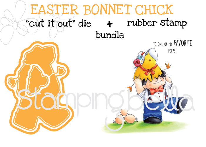 "Stampingbella SPRING 2017 RELEASE- Easter BONNET CHICK rubber stamp + ""CUT IT OUT"" bundle"