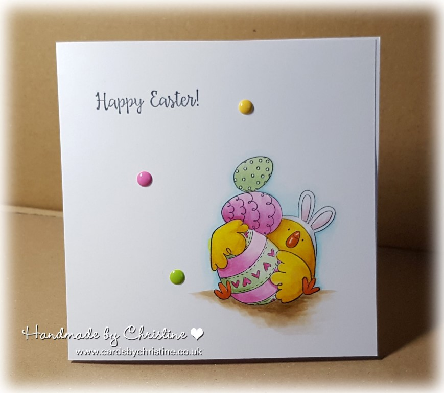 Bellarific Friday by Stamping Bella MARCH 31 2017-EASTER BUNNY CHICK rubber stamp card by CHRISTINE LEVISON