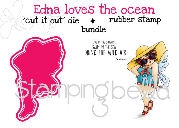 Stamping Bella MARCH 2017 release -Edna Loves the Ocean rubber stamp + CUT IT OUT die