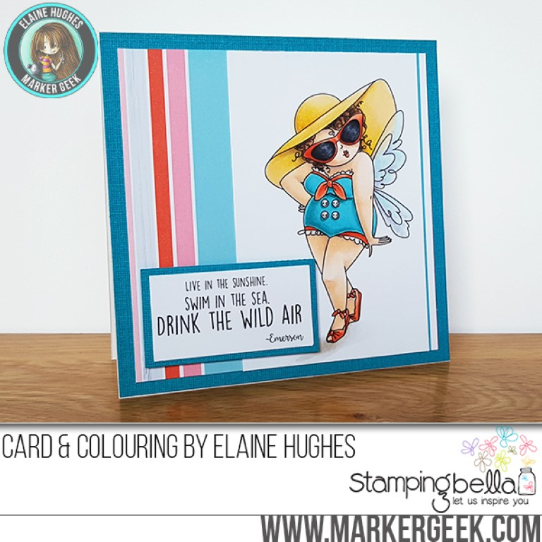 Stamping Bella MARCH 2017 release -Edna Loves the Ocean rubber stamp. Card by Elaine Hughes