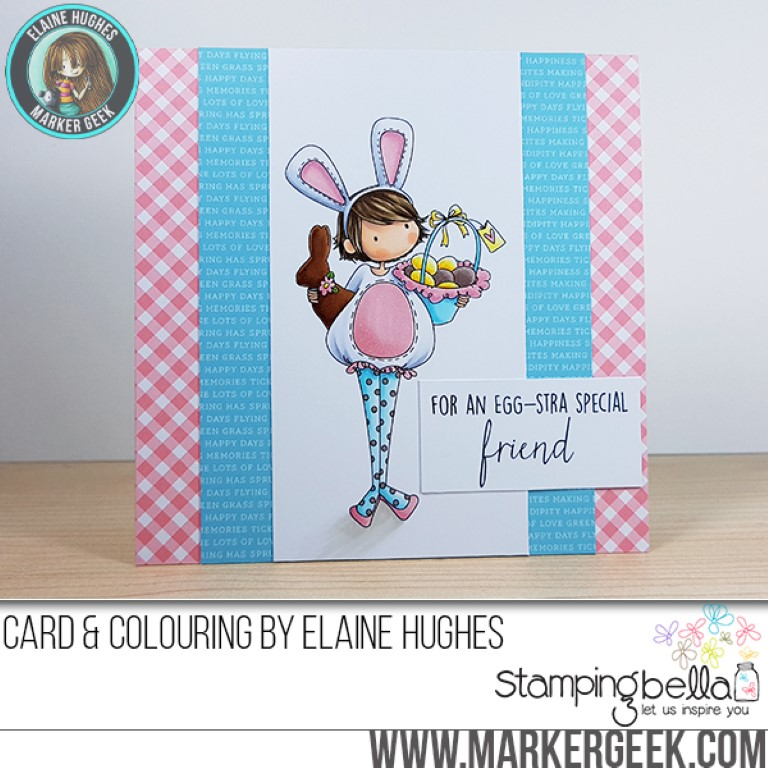 Stampingbella SPRING 2017 RELEASE- TINY TOWNIE ELLA loves EASTER RUBBER STAMP . Card by Elaine Hughes