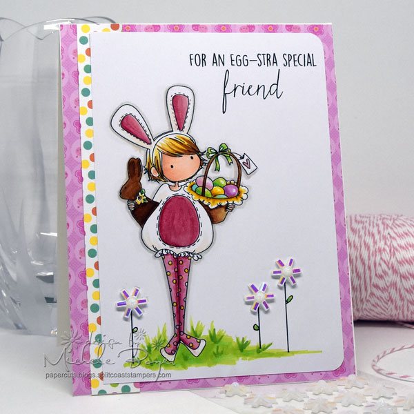 Stampingbella SPRING 2017 RELEASE- TINY TOWNIE ELLA loves EASTER RUBBER STAMP card made by Michele Boyer