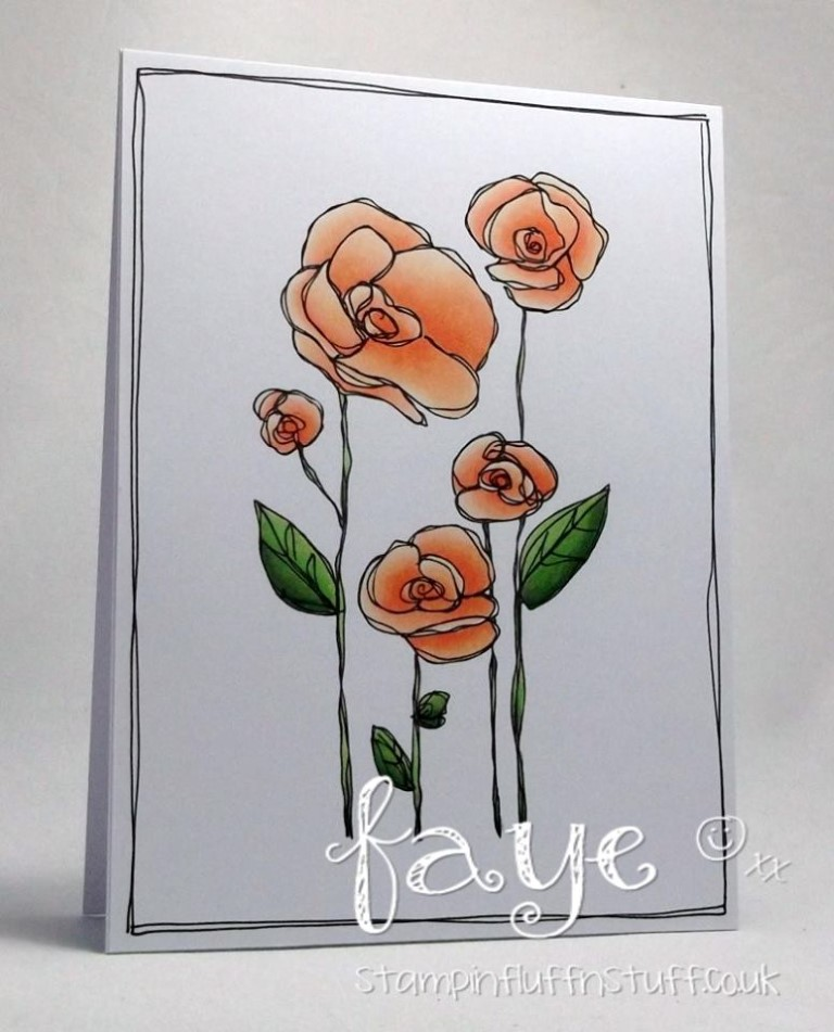 Bellarific Friday by Stamping Bella MARCH 31 2017- FLOWER GARDEN rubber stamp card by FAYE WYNN JONES