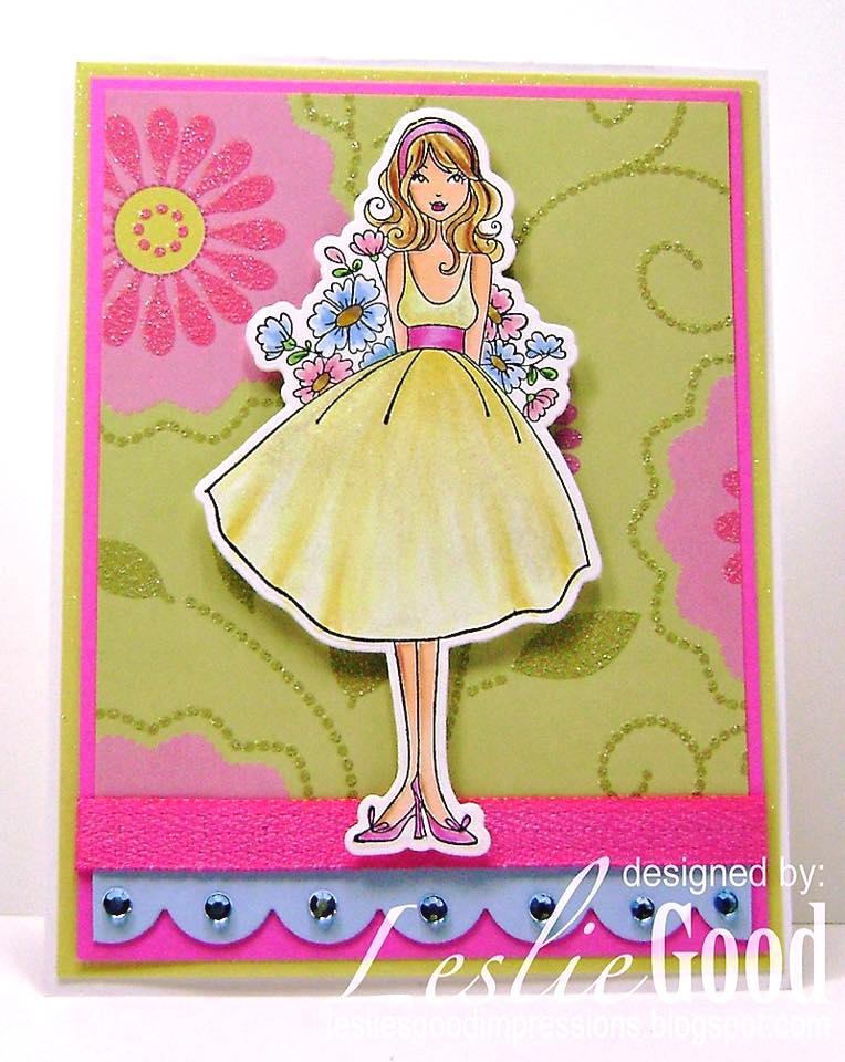 Stamping Bella BELLARIFIC FRIDAY - Rubber stamp used FLOWERSBEHINDMYBACKABELLA card by LESLIE GOOD