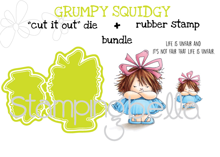"Stamping Bella SPRING 2017 RELEASE- GRUMPY SQUIDGY RUBBER stamp + ""CUT IT OUT"" DIE BUNDLE (save 15%)"
