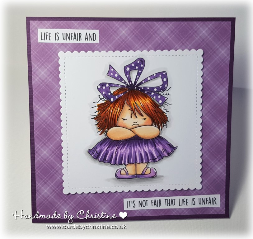 Stamping Bella SPRING 2017 RELEASE- GRUMPY SQUIDGY RUBBER stamp. Card by CHRISTINE LEVISON