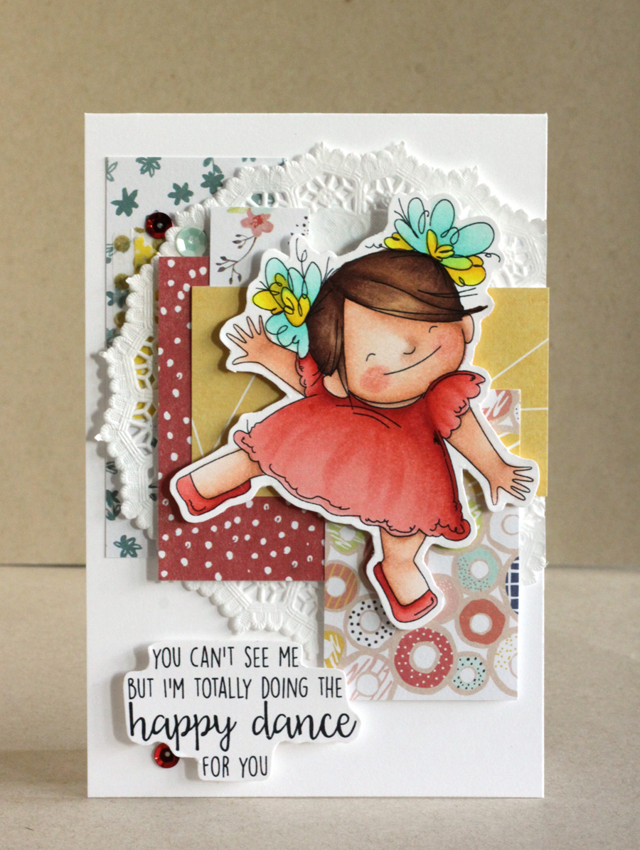 Stamping Bella SPRING 2017 RELEASE- HAPPY DANCE SQUIDGY RUBBER stamp. Card by ALICE WERTZ