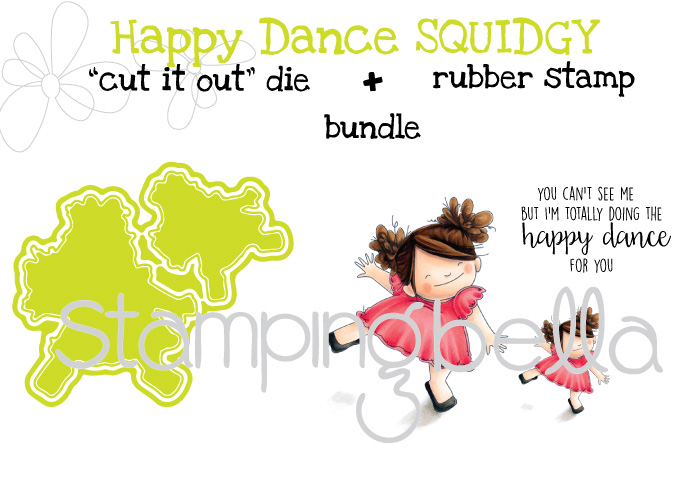 "Stamping Bella SPRING 2017 RELEASE-HAPPY DANCE squidgy RUBBER stamp + ""CUT IT OUT"" DIE BUNDLE (save 15%)"