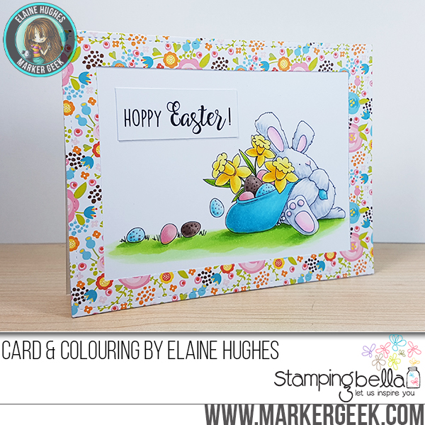 Stampingbella SPRING 2017 RELEASE-HOPPY EASTER BUNNY WOBBLE rubber stamp. Card by Elaine Hughes