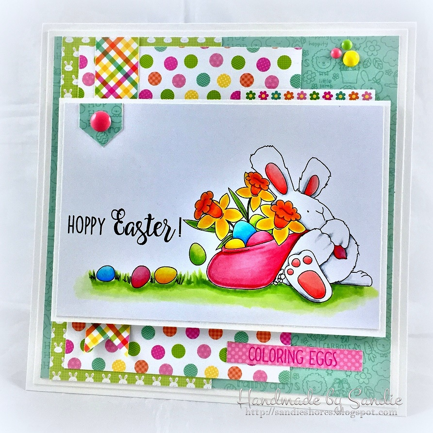 Stampingbella SPRING 2017 RELEASE-HOPPY EASTER BUNNY WOBBLE rubber stamp. CARD by SANDIE DUNNE