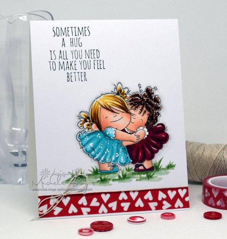 Bellarific Friday by Stamping Bella MARCH 31 2017- HUGGY SQUIDGIES rubber stamp card by MICHELE BOYER