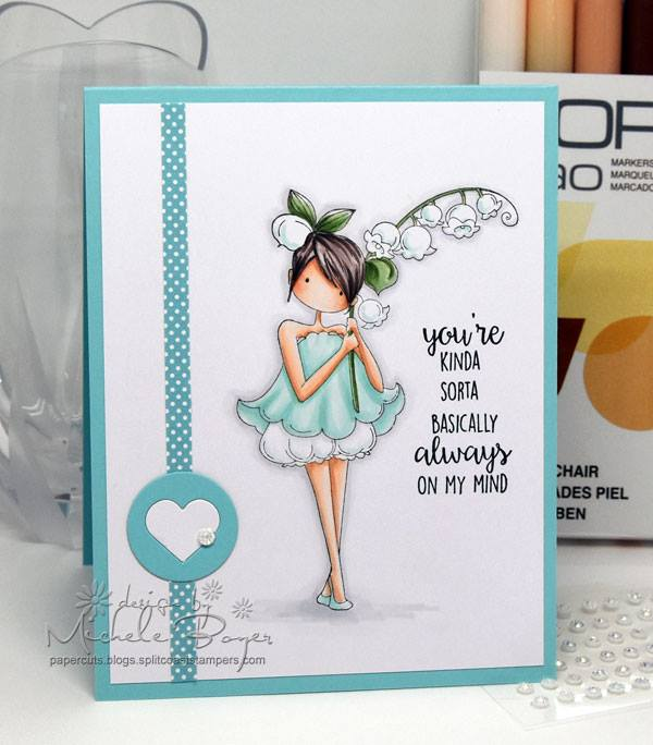 Bellarific Friday  MARCH 10 2017- Rubber stamp used TINY TOWNIE LILY of the VALLEY card by MICHELE BOYER
