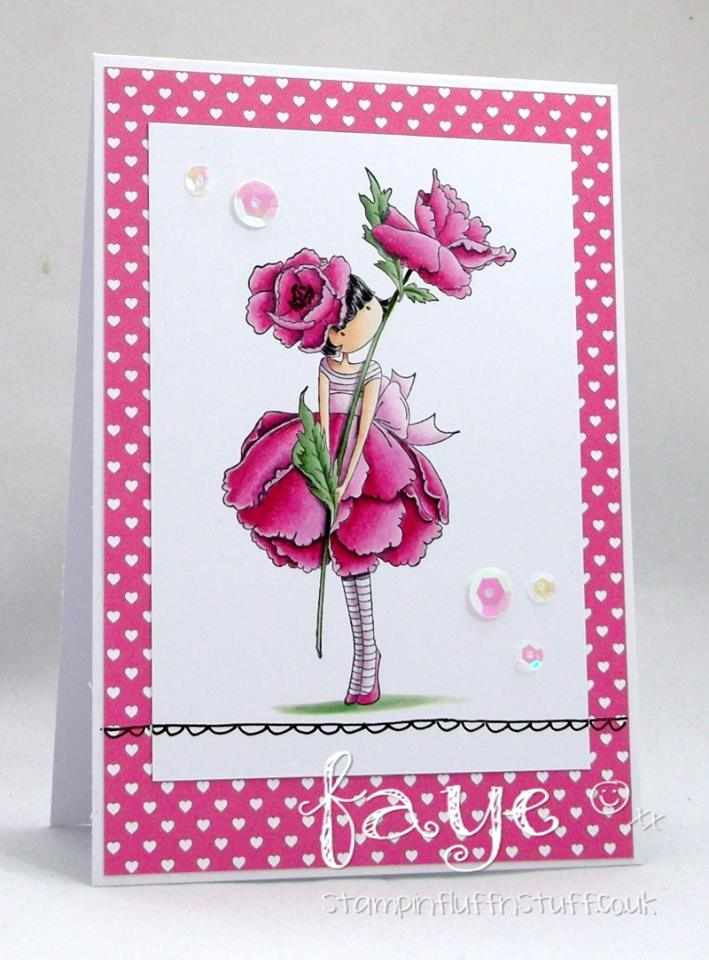 Bellarific Friday  MARCH 10 2017- Rubber stamp used TINY TOWNIE GARDEN GIRL ROSE card by FAYE WYNN-JONES