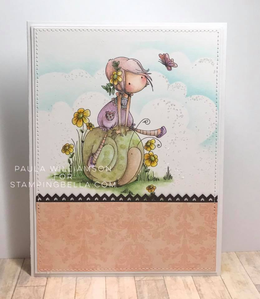 Bellarific Friday INSPIRATION PHOTO CHALLENGE- RUBBER STAMP USED: TINY TOWNIE Sally and her SNAIL, CARD MADE BY PAULA WILLIAMSON