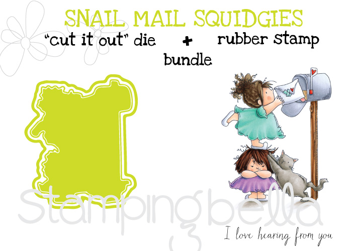 Stamping Bella Spring 2017 release -Snail mail Squidgies rubber stamp + CUT IT OUT DIE BUNDLE