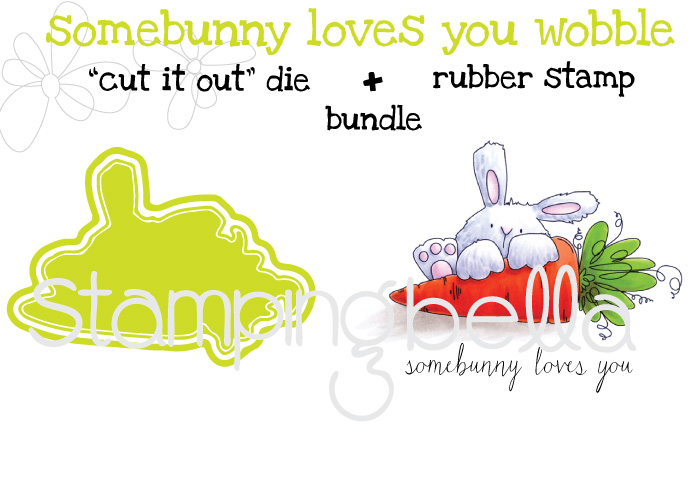 "Stampingbella SPRING 2017 RELEASE- SOMEBUNNY loves YOU RUBBER STAMP + ""CUT IT OUT"" DIE BUNDLE"