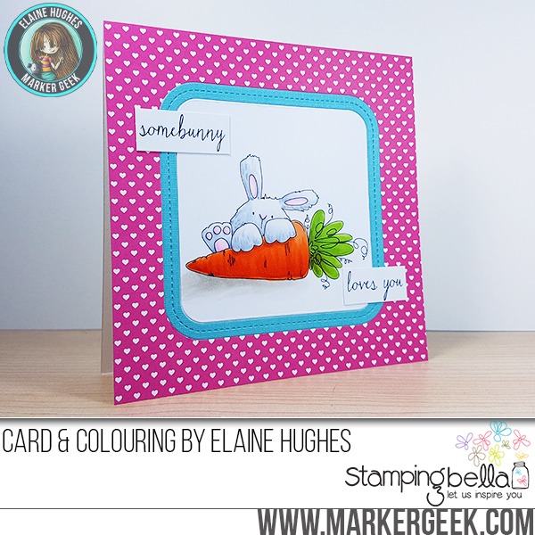 Stampingbella SPRING 2017 RELEASE- SOMEBUNNY loves YOU RUBBER STAMP. Card by Elaine Hughes