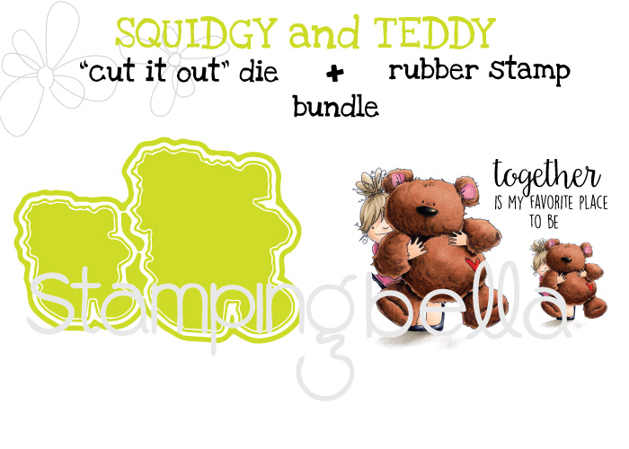 "017 release- SQUIDGY and TEDDY RUBBER STAMP + ""CUT IT OUT"" DIES ""BUNDLE"""
