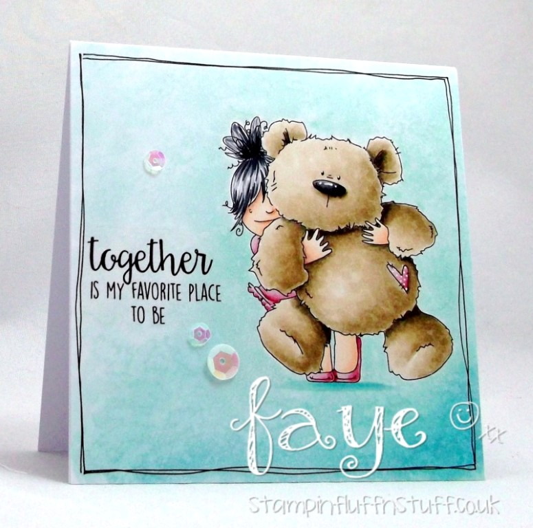Stamping Bella March 2017 release- SQUIDGY and TEDDY RUBBER STAMP. Card by Faye WYNN JONES