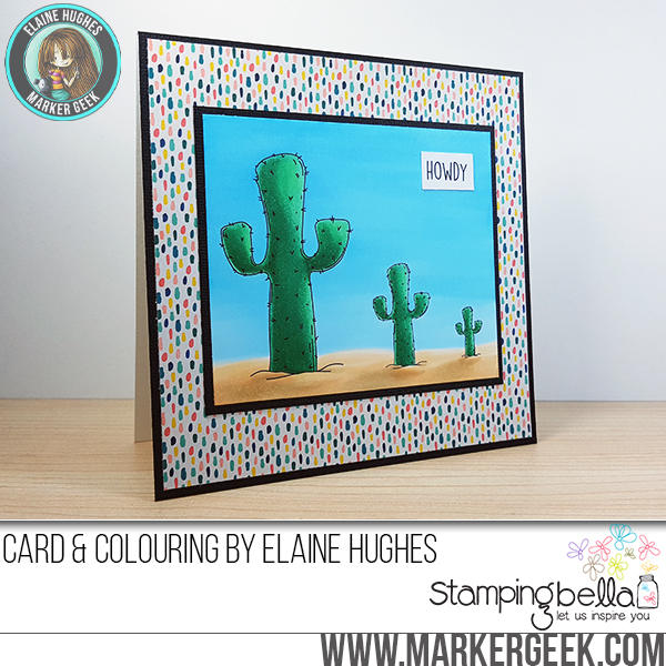 Stamping Bella Spring 2017 release - Squidgy CACTUS rubber stamp. Card by Elaine Hughes