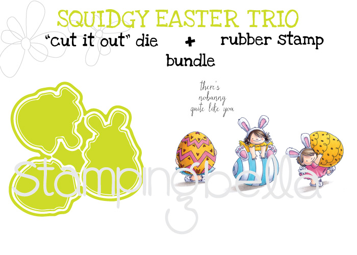 "Stampingbella SPRING 2017 RELEASE-SQUIDGY EASTER TRIO rubber stamp + ""CUT IT OUT"" DIE BUNDLE"