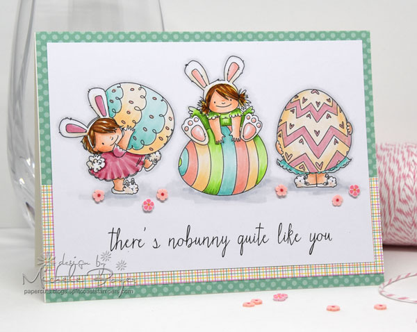 Stampingbella SPRING 2017 RELEASE-SQUIDGY EASTER TRIO rubber stamp. Card by Michele Boyer
