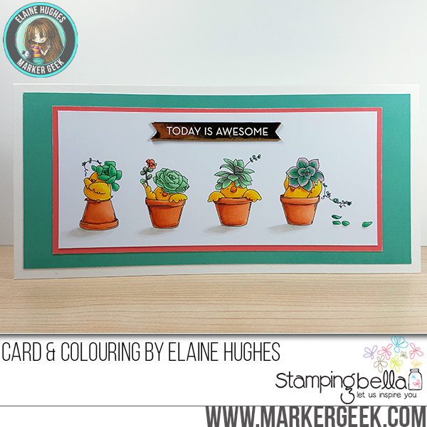 Stamping Bella Sneak Peek March 2017- SUCCULENT CHICKS RUBBER STAMPS. CARD by ELAINE HUGHES