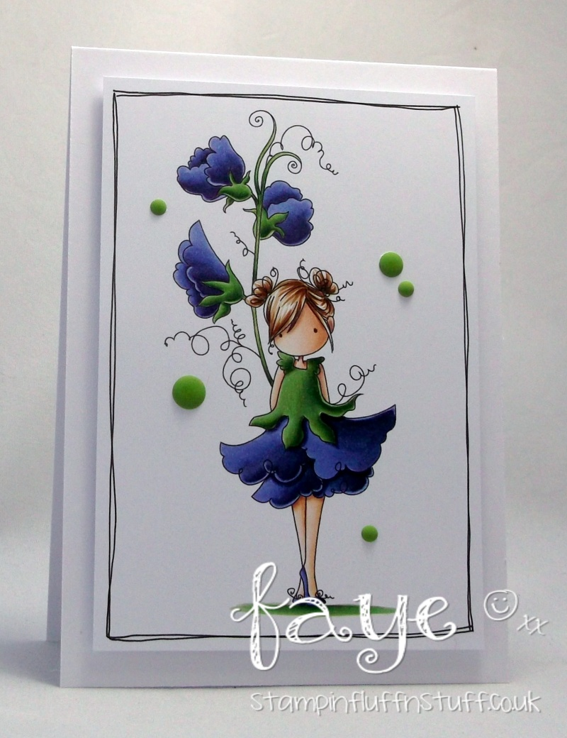 Stamping Bella Sneak Peek March 2017- TINY TOWNIE GARDEN GIRL SWEET PEA RUBBER STAMP. CARD BY FAYE WYNN JONES