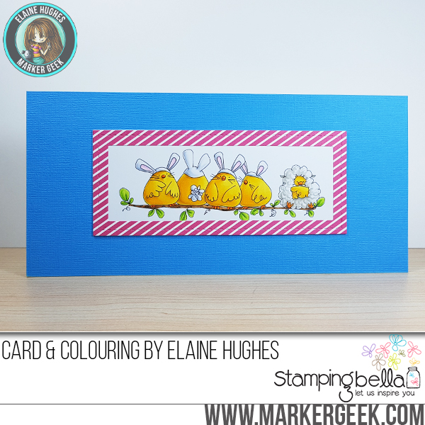 Stampingbella SPRING 2017 RELEASE- THE CHICK WHO WAS A LAMB rubber stamp. Card by Elaine Hughes