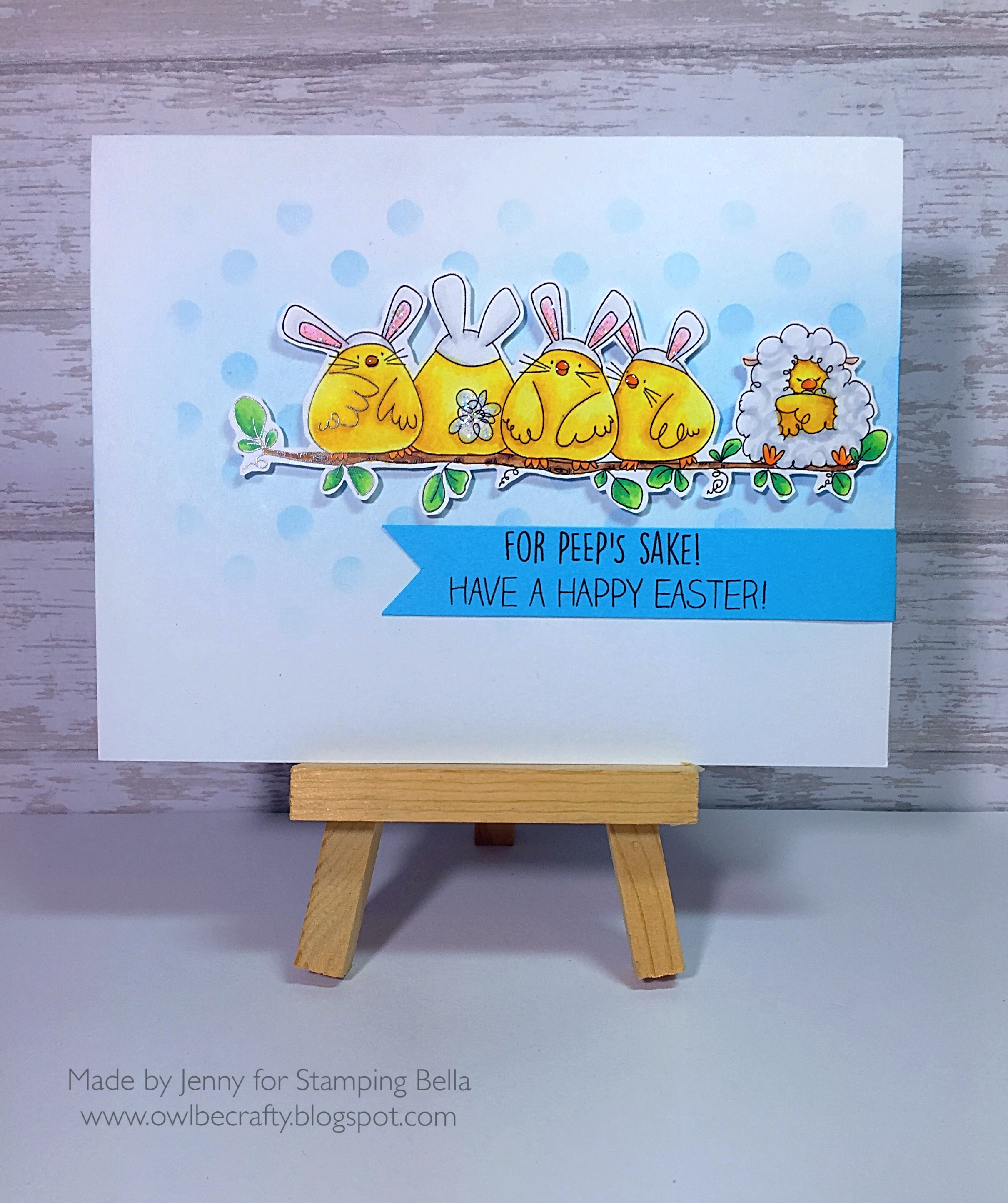 Stampingbella SPRING 2017 RELEASE- THE CHICK WHO WAS A LAMB rubber stamp. Card by Jenny Bordeaux