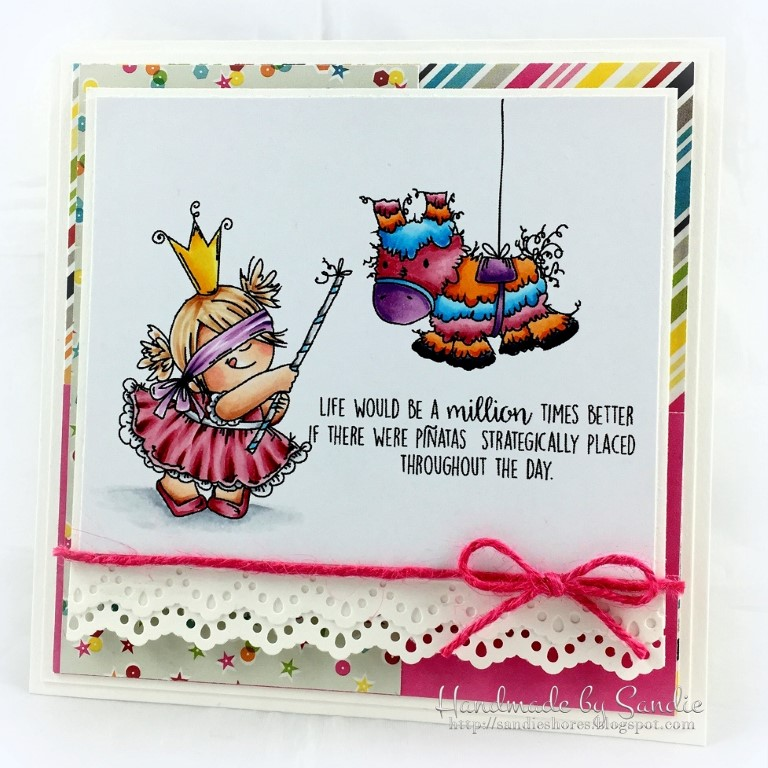 Stamping Bella SPRING 2017 RELEASE- PINATA squidgy RUBBER stamp. CARD by Sandie Dunne
