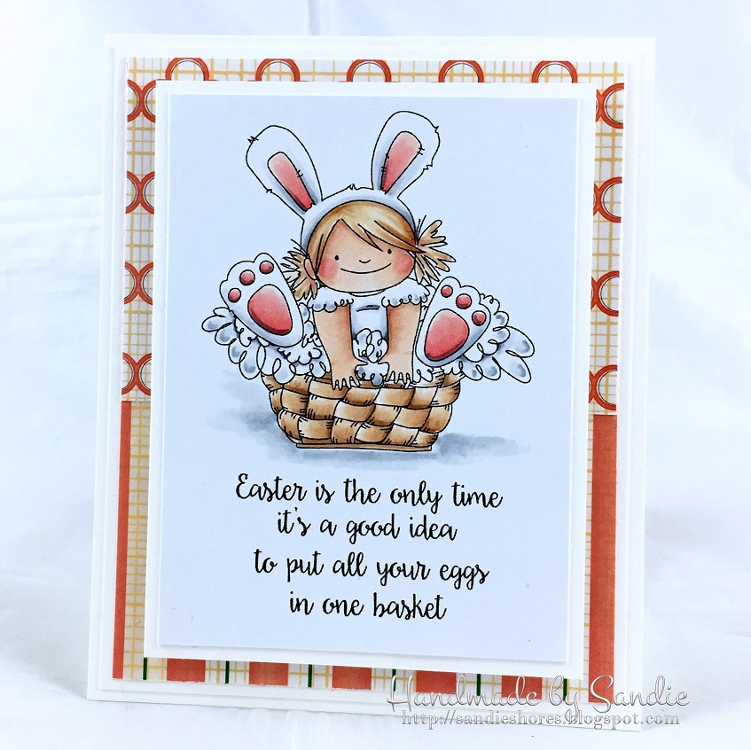 Stampingbella SPRING 2017 RELEASE-the SQUIDGY in the BASKET rubber stamp. Card by Sandie Dunner