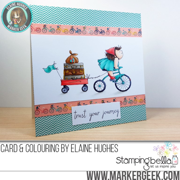 Stamping Bella Spring 2017 release -The Squidgy on a JOURNEY Rubber stamp. Card by Elaine Hughes