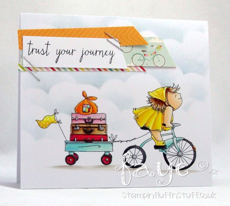 Stamping Bella Spring 2017 release -The Squidgy on a JOURNEY Rubber stamp. Card by Faye Wynn Jones