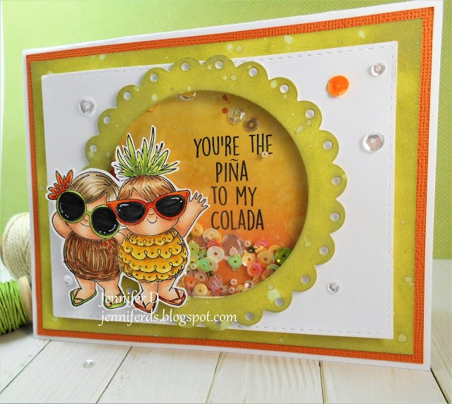 wonderful wednesday feature for Stamping Bella- Rubber stamp used TROPICAL SQUIDGIES, Shaker Card by JENNY DIX