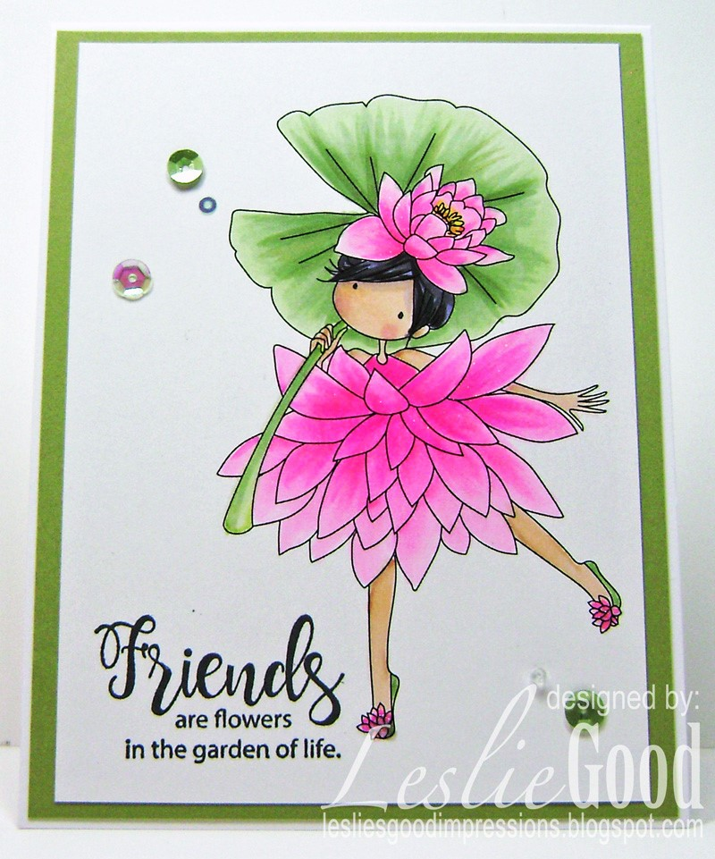 Stamping Bella Sneak Peek March 2017- TINY TOWNIE GARDEN GIRL WATER LILY RUBBER STAMP. Card by LESLIE GOOD