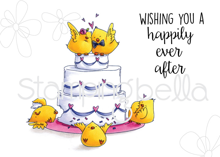 Stamping Bella SPRING 2017 release- WEDDING CAKE CHICKS rubber stamp