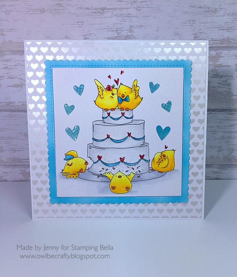 Stamping Bella SPRING 2017 release- WEDDING CAKE CHICKS RUBBER STAMP. Card by JENNY BORDEAUX