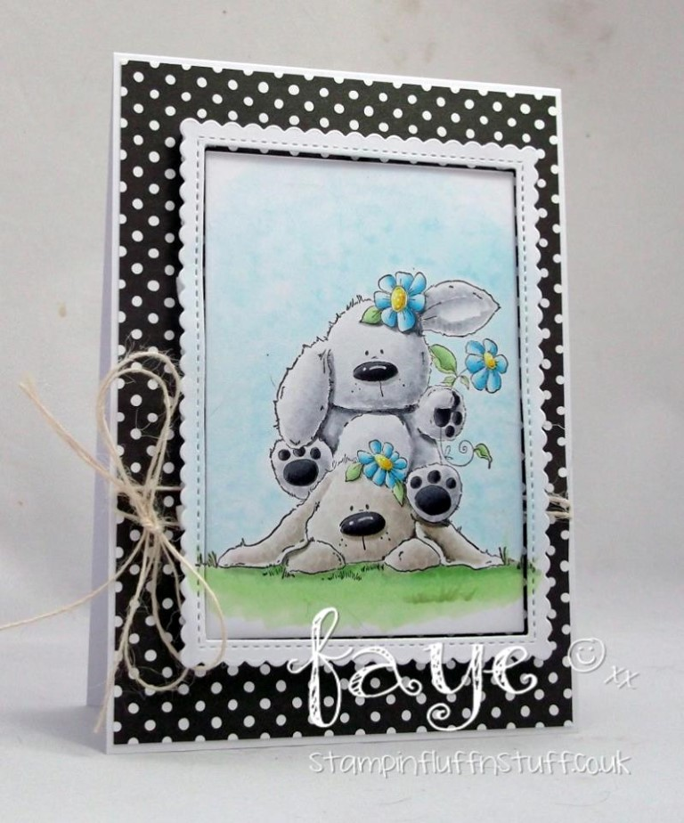 Bellarific Friday with Stamping Bella - rubber stamp uised: BUNNY PILE STUFFIES card by Faye Wynn Jones
