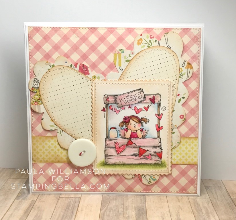 Bellarific Friday with Stamping Bella - rubber stamp uised: KISSING BOOTH card by Paula Williamson