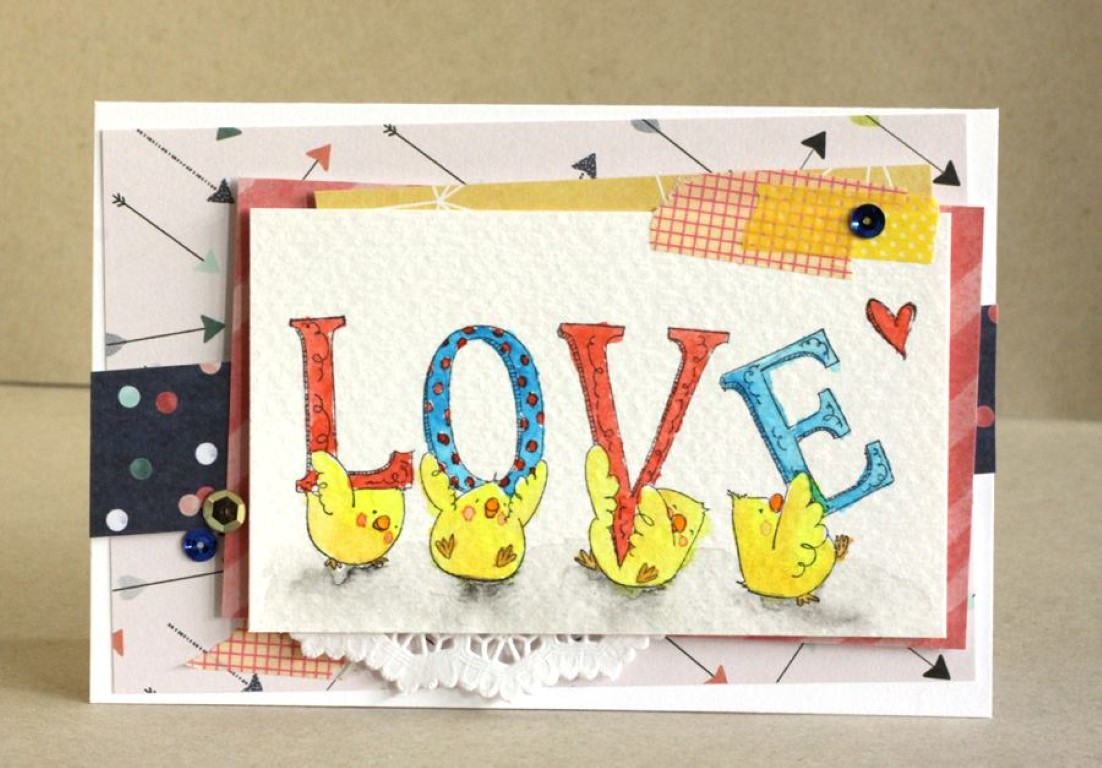 Bellarific Friday with Stamping Bella - rubber stamp uised: LOVE CHICKS card by Alice Wertz