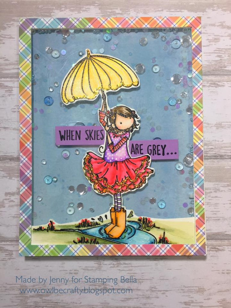 Bellarific Friday April 28 2017 PHOTO INSPIRATION CHALLENGE- Rubber stamps used: Tiny Townie Rachel loves the rain card by Jenny Bordeaux